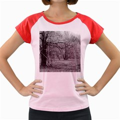Black And White Forest Colored Cap Sleeve Raglan Womens  T Shirt