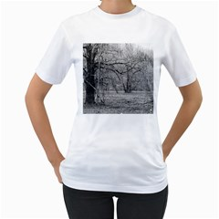 Black and White Forest White Womens  T-shirt