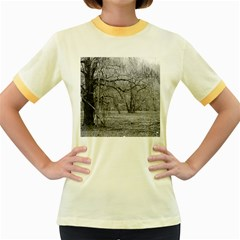Black and White Forest Colored Ringer Womens  T-shirt