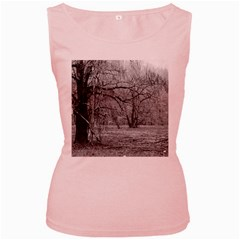 Black and White Forest Pink Womens  Tank Top
