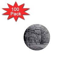 Black And White Forest 100 Pack Mini Magnet (round)