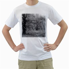 Black and White Forest White Mens  T-shirt