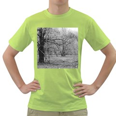 Black and White Forest Green Mens  T-shirt