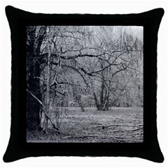 Black And White Forest Black Throw Pillow Case