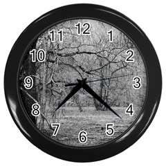 Black And White Forest Black Wall Clock