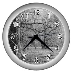 Black and White Forest Silver Wall Clock