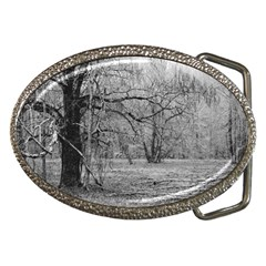 Black And White Forest Belt Buckle (oval)