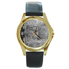 Black And White Forest Black Leather Gold Rim Watch (round)