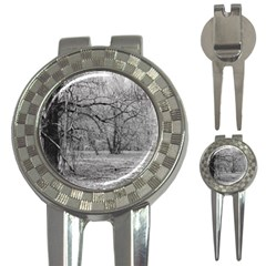 Black and White Forest Golf Pitchfork & Ball Marker