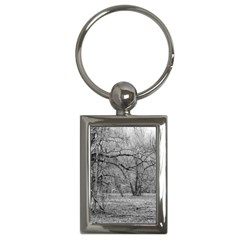 Black And White Forest Key Chain (rectangle)