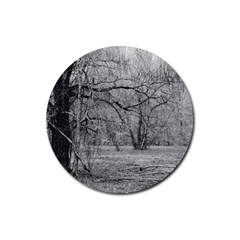 Black And White Forest Rubber Drinks Coaster (round)