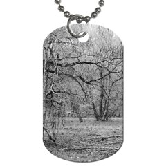Black And White Forest Single Sided Dog Tag