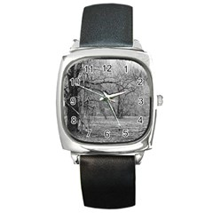 Black and White Forest Black Leather Watch (Square)