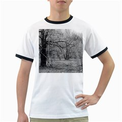 Black And White Forest White Ringer Mens'' T Shirt