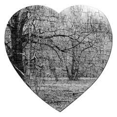 Black And White Forest Jigsaw Puzzle (heart)