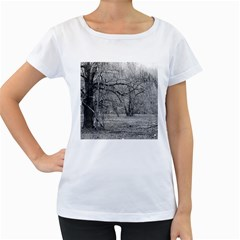 Black and White Forest White Oversized Womens'' T-shirt