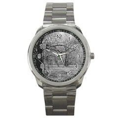 Black And White Forest Stainless Steel Sports Watch (round)
