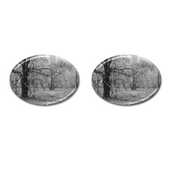 Black and White Forest Oval Cuff Links