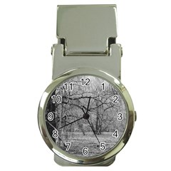 Black and White Forest Chrome Money Clip with Watch