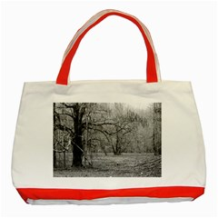 Black and White Forest Red Tote Bag