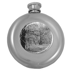 Black and White Forest Hip Flask (Round)