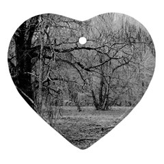 Black And White Forest Heart Ornament (two Sides)