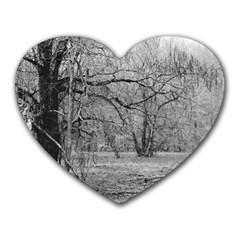 Black and White Forest Mouse Pad (Heart)