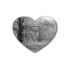 Black And White Forest Rubber Drinks Coaster (heart)