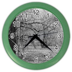 Black And White Forest Colored Wall Clock