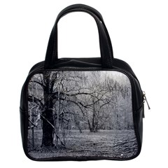Black and White Forest Twin-sided Satchel Handbag