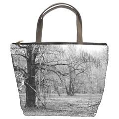 Black and White Forest Bucket Handbag