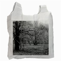 Black and White Forest Single-sided Reusable Shopping Bag