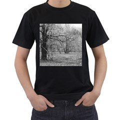 Black and White Forest Black Mens'' T-shirt