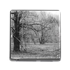 Black and White Forest Card Reader with Storage (Square)