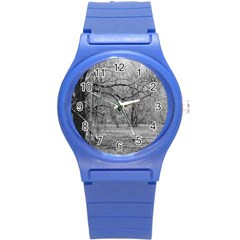 Black and White Forest Round Plastic Sport Watch Small