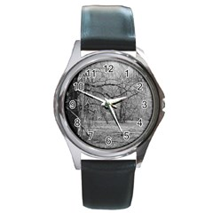 Black And White Forest Black Leather Watch (round)