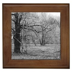 Black and White Forest Framed Ceramic Tile