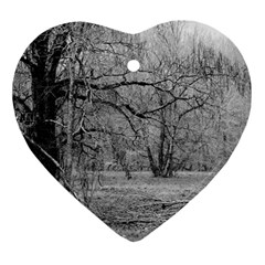 Black and White Forest Ceramic Ornament (Heart)