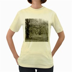 Black and White Forest Yellow Womens  T-shirt