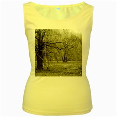 Black and White Forest Yellow Womens  Tank Top