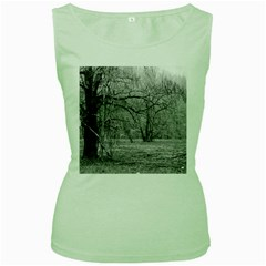 Black and White Forest Green Womens  T-shirt