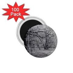 Black And White Forest 100 Pack Small Magnet (round)