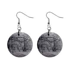 Black And White Forest Mini Button Earrings
