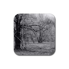 Black and White Forest 4 Pack Rubber Drinks Coaster (Square)