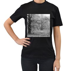 Black and White Forest Twin-sided Black Womens'' T-shirt