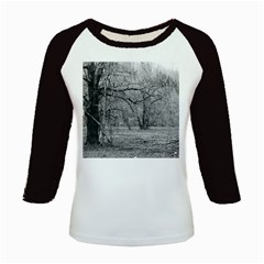 Black And White Forest Long Sleeve Raglan Womens'' T Shirt