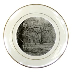 Black And White Forest Porcelain Display Plate