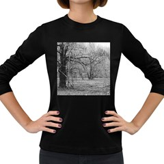 Black and White Forest Dark Colored Long Sleeve Womens'' T-shirt