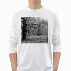 Black and White Forest White Long Sleeve Man''s T-shirt