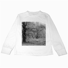 Black and White Forest White Long Sleeve Kids'' T-shirt